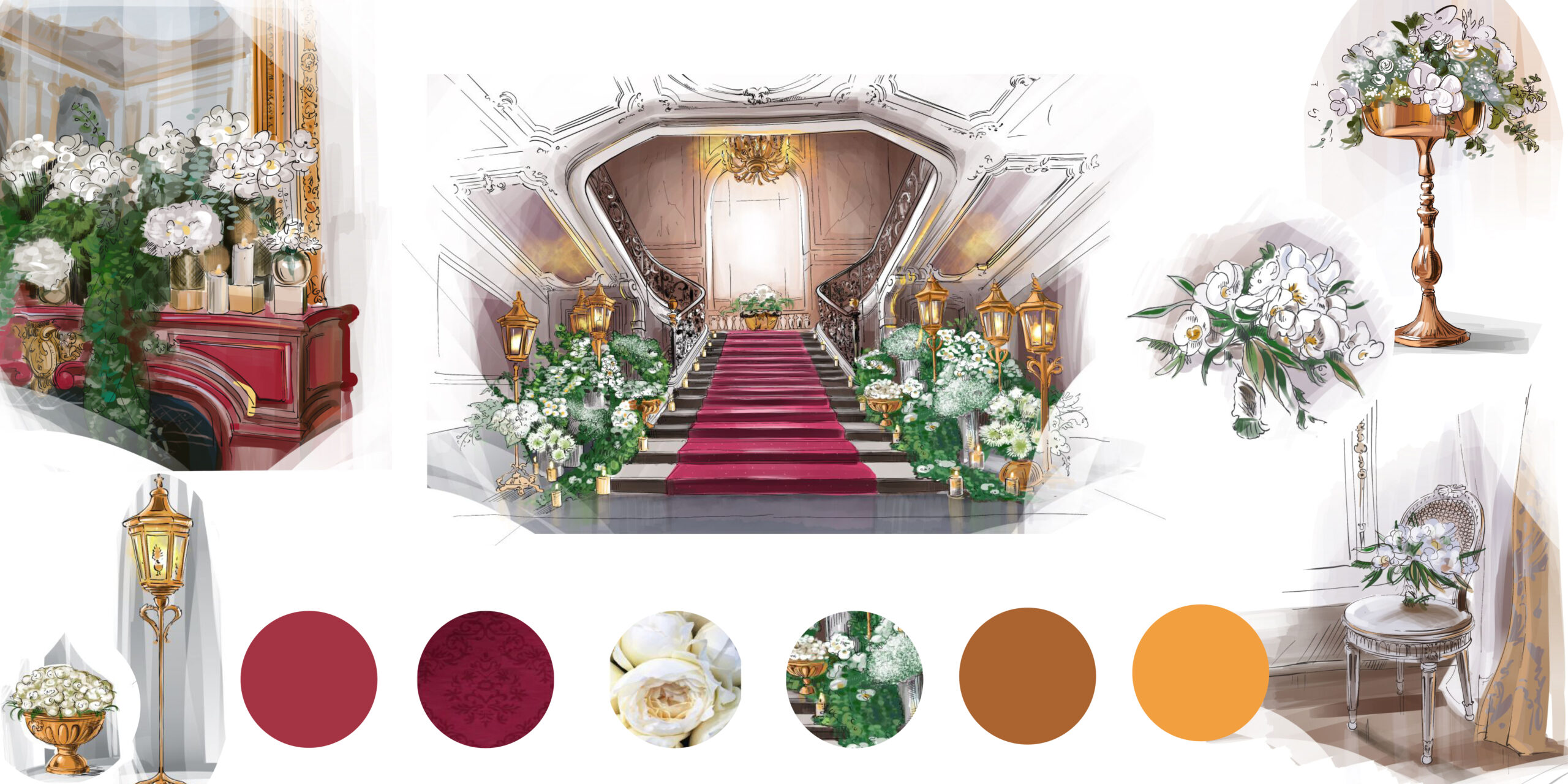 3 d plans and painting Wedding floral design