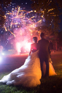 Wedding party, fireworks and decoration in France